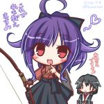2girls :d ahoge alternate_hairstyle bangs black_bow black_hair black_skirt blue_skirt bow bow_(weapon) brown_gloves brown_kimono closed_mouth cosplay costume_switch dated eyebrows_visible_through_hair finger_to_mouth gloves hair_between_eyes hair_bow hair_flaps hairstyle_switch heart high_ponytail holding holding_bow_(weapon) holding_weapon houshou_(kantai_collection) houshou_(kantai_collection)_(cosplay) japanese_clothes kantai_collection kimono komakoma_(magicaltale) long_hair long_sleeves looking_at_viewer low_twintails multiple_girls open_mouth partly_fingerless_gloves pleated_skirt ponytail purple_hair red_eyes school_uniform serafuku shirt short_kimono short_sleeves sidelocks simple_background single_glove skirt smile taigei_(kantai_collection) taigei_(kantai_collection)_(cosplay) translation_request twintails twitter_username v_arms very_long_hair weapon white_background white_shirt ||_||