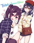 2girls bag bangs beret blue_hair blush commentary_request hair_between_eyes hair_ornament hairclip handbag hat heart legs_crossed long_hair looking_at_viewer love_live! love_live!_school_idol_project love_live!_sunshine!! matsuura_kanan multiple_girls plaid ponytail purin_(purin0) purple_hair simple_background sitting skirt smile sonoda_umi standing striped violet_eyes watch watch white_background