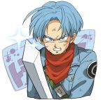 1boy blue_eyes blue_hair dirty dirty_clothes dragon_ball dragon_ball_super fighting_stance jacket kerchief looking_at_viewer male_focus official_style petagon serious short_hair simple_background sweatdrop sword trunks_(dragon_ball) weapon white_background