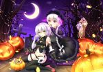 >_< 3girls :o ^_^ arm_belt bandage bandaged_arm bangs bare_shoulders belt_buckle black_belt black_bow black_dress black_gloves black_legwear black_panties black_shirt blonde_hair blush bow braid breasts buckle candy candy_cane checkerboard_cookie closed_eyes clouds commentary_request cookie crescent_moon cross doll_joints dress elbow_gloves eyebrows_visible_through_hair facial_mark fate/apocrypha fate/extra fate/grand_order fate_(series) fingernails food frilled_dress frills gloves glowing gothic_lolita green_eyes groin hair_between_eyes hair_bow halloween halloween_basket hand_on_another's_shoulder highres holding holding_lollipop horns ibaraki_douji_(fate/grand_order) jack-o'-lantern jack_the_ripper_(fate/apocrypha) kneeling lolita_fashion lollipop long_hair looking_at_viewer looking_away low_twintails lowleg lowleg_panties moon multiple_girls navel night night_sky nursery_rhyme_(fate/extra) oni_horns open_mouth outdoors panties pantyhose parted_lips peeking_out puffy_short_sleeves puffy_sleeves sakaki_jin'ya scar scar_across_eye scar_on_cheek sharp_fingernails shirt short_sleeves shoulder_tattoo silver_hair single_glove sitting sky sleeveless sleeveless_shirt small_breasts star_(sky) starry_sky swirl_lollipop tattoo thigh-highs tombstone tree twin_braids twintails underwear very_long_hair wariza white_bow yellow_eyes