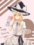 1girl akatsuki_(osamaru36) apron blonde_hair blush braid collared_shirt happy_valentine hat heart heart-shaped_box kirisame_marisa long_hair looking_at_viewer no_vest sash shirt side_braid single_braid skirt smile solo touhou waist_apron witch_hat yellow_eyes