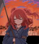 1girl alien_(psr992) bangs closed_eyes closed_mouth coin commentary_request eyebrows_visible_through_hair hair_between_eyes hair_bobbles hair_ornament hands_in_sleeves holding onozuka_komachi outdoors red_sky redhead scythe sidelocks sky solo touhou tree twintails upper_body