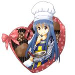 1girl blue_hair chocolate dragon_quest dragon_quest_iii heart long_hair looking_at_viewer priest_(dq3) simple_background solo tsurukou_(tksymkw) valentine white_background
