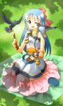 1girl bird blue_eyes blue_hair bow chopsticks dragon_quest dragon_quest_v eating hair_bow long_hair seiza sitting smile solo tsurukou_(tksymkw) wink