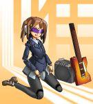 android brown_eyes brown_hair guitar head_mounted_display highres hirasawa_yui instrument k-on! mechanization pantyhose robot_joints school_uniform seena short_hair skirt smile solo visor