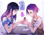2girls blue_eyes blue_hair blue_nails closed_mouth dokidoki!_precure dress embarrassed gradient gradient_background heart hishikawa_rikka kenzaki_makoto long_hair looking_at_another multiple_girls nail_polish nail_polish_bottle negom pink_nails precure purple_hair sailor_dress short_hair short_sleeves thought_bubble translation_request violet_eyes white_background yuri