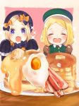 2girls :d abigail_williams_(fate/grand_order) bangs beret black_bow black_dress black_hat blonde_hair blue_eyes blush bow brown_gloves closed_eyes collared_jacket commentary_request dress drooling egg facing_viewer fate/grand_order fate_(series) food forehead gloves green_hat green_jacket hair_bow hands_up hat heart_in_eye highres jacket long_hair long_sleeves looking_at_viewer matsuda_(0yx38755230263c) multiple_girls open_mouth orange_bow pancake parted_bangs paul_bunyan_(fate/grand_order) plate polka_dot polka_dot_bow short_hair sleeves_past_wrists smile sparkle stack_of_pancakes sunny_side_up_egg table very_long_hair