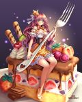 1girl artist_name bangs bare_shoulders blue_eyes blush bow breasts brown_hair cake cherry chocolate cleavage closed_mouth commentary crown dated detached_sleeves dress eyebrows_visible_through_hair food fruit full_body hair_between_eyes hair_ribbon high_heels highres holding in_food large_breasts ling_(doraling12) long_hair looking_at_viewer minigirl original oversized_object puffy_short_sleeves puffy_sleeves ribbon short_sleeves sitting solo strawberry striped striped_bow whipped_cream white_ribbon yellow_bow yellow_footwear