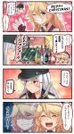 +++ 2girls 4koma ^_^ ^o^ alcohol blonde_hair blue_eyes bottle closed_eyes comic commentary_request english evil_smile fake_mustache gangut_(kantai_collection) grin hair_between_eyes hat heart heart_in_mouth highres ido_(teketeke) iowa_(kantai_collection) kantai_collection long_hair md5_mismatch multiple_girls one_eye_closed open_mouth orange_eyes peaked_cap pom_pom_(clothes) red_shirt remodel_(kantai_collection) santa_hat scar shaded_face shirt smile speech_bubble star star-shaped_pupils symbol-shaped_pupils translation_request white_hair