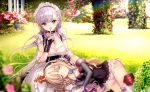 2girls azur_lane bangs belfast_(azur_lane) blonde_hair blurry braid chains closed_eyes collar collarbone covered_navel crown day depth_of_field detached_sleeves eyebrows_visible_through_hair finger_to_mouth garden gloves half_updo lap_pillow long_hair looking_at_viewer maid maid_headdress mini_crown multiple_girls open_mouth outdoors queen_elizabeth_(azur_lane) rigging shushing sidelocks silver_hair sleeping smile tsukigami_runa violet_eyes white_gloves