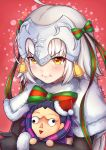 1girl :i ahoge black_gloves bow caster_(fate/zero) character_doll commentary elbow_gloves fate/grand_order fate_(series) fur_trim gloves green_ribbon headpiece jeanne_d'arc_(fate)_(all) jeanne_d'arc_alter_santa_lily kelinch1 pout ribbon short_hair solo striped striped_bow striped_ribbon yellow_eyes