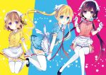 3girls bangs blend_s blonde_hair blue_eyes breasts brown_hair eyebrows_visible_through_hair gloves hair_between_eyes hair_ornament head_scarf hinata_kaho hoshikawa_mafuyu large_breasts long_hair low_twintails multiple_girls nakayama_miyuki official_art open_mouth red_string ribbon sakuranomiya_maika short_hair short_sleeves smile stile_uniform string thigh-highs twintails violet_eyes waitress white_gloves white_legwear