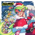 1boy 6+girls al_bhed_eyes arms_(game) blonde_hair blue_eyes breath carrying_over_shoulder cobushii_(arms) fur_trim gift hat highres ishikawa_masaaki logo mask multicolored_hair multiple_girls nintendo official_art ponytail ribbon_girl_(arms) ribbon_hair sack santa_costume santa_hat smile streaked_hair