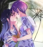2girls blue_eyes blue_hair dokidoki!_precure hishikawa_rikka imminent_kiss kenzaki_makoto kiss long_hair multiple_girls negom precure purple_hair rain saliva saliva_trail school_uniform short_hair transparent_umbrella umbrella violet_eyes wet yuri