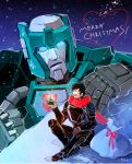 2boys 80s ^_^ autobot black_hair blue_eyes character_request christmas closed_eyes gift gloves glowing glowing_eyes happy height_difference insignia kup merry_christmas multiple_boys oldschool open_mouth sack short_hair smile snow snow_globe snowflakes snowing standing toriko_(hogetara) transformers upper_body