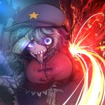 1girl aqua_background black_footwear blood blue_hair blue_hat breasts claws hair_between_eyes hat large_breasts looking_at_viewer miyako_yoshika night night_sky ofuda open_mouth outdoors pigeoncrow pink_eyes saliva sharp_teeth shoes sky smile solo star teeth tongue tongue_out touhou