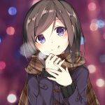1girl :p ai_cao black_shirt blush brown_hair brown_scarf coat commentary eyebrows_visible_through_hair hand_on_hand hands_up hashima_chihiro holding_scarf imouto_sae_ireba_ii looking_at_viewer purple_coat scarf shirt short_hair solo tongue tongue_out violet_eyes winter_clothes winter_coat