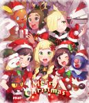 2girls 3boys alola_form alolan_raichu antlers arm_hug bell belt blonde_hair blush braid brother_and_sister brown_hair christmas dark_skin dark_skinned_male delibird fur_trim gift gladio_(pokemon) gloves green_eyes green_hair green_hat grin hair_over_one_eye hat hau_(pokemon) highres lillie_(pokemon) litten long_hair merry_christmas mizuki_(pokemon_sm) multiple_boys multiple_girls one_eye_closed open_mouth pokemon pokemon_(creature) pokemon_(game) pokemon_sm popplio red_gloves red_hat reindeer_antlers rowlet sack santa_costume santa_hat short_hair siblings silvally smile twin_braids unadayoo00 you_(pokemon_sm)