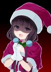 1girl :d blend_s blush bow bowtie brown_hair christmas collarbone commentary_request gloves green_neckwear half-closed_eyes hands_together hat long_hair looking_at_viewer low_twintails open_mouth sakuranomiya_maika santa_costume santa_hat shaded_face short_sleeves smile solo twintails upper_body upper_teeth violet_eyes white_gloves yutsuki_warabi