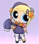 1girl abigail_williams_(fate/grand_order) abigail_williams_(fate/grand_order)_(cosplay) bangs black_bow black_dress black_footwear black_hat blonde_hair bloomers blue_eyes bmo_(zero1017) bow bubbles_(ppg) butterfly c: cartoon_network closed_mouth commentary_request cosplay craig_mccracken_(style) dress fate/grand_order fate/stay_night fate_(series) full_body hair_bow hat long_hair long_sleeves looking_at_viewer orange_bow parted_bangs polka_dot polka_dot_bow powerpuff_girls purple_background shoes sidelocks simple_background sleeves_past_wrists smile solo standing type-moon underwear very_long_hair white_bloomers