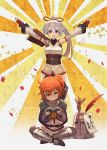 1boy 2girls armor controller cosplay dark_souls fate/grand_order fate_(series) figure fujimaru_ritsuka_(female) hair_ornament hair_scrunchie helmet highres lack long_hair multiple_girls one_side_up orange_eyes orange_hair playing_games ponytail praise_the_sun red_eyes romulus_(fate/grand_order) scrunchie side_ponytail side_slit silver_hair solaire_of_astora solaire_of_astora_(cosplay) souls_(from_software) tomoe_gozen_(fate/grand_order) very_long_hair