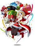 1girl blonde_hair character_doll commentary confetti dress enta_girl falcoon fatal_fury fur_trim gift highres jumping mascot neo_geo official_art red-framed_eyewear red_dress santa_costume semi-rimless_eyewear short_hair simple_background smile snk solo terry_bogard white_background
