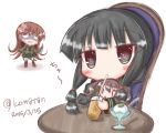 3girls anger_vein bangs black_eyes black_hair black_legwear blush braid brown_footwear brown_hair chair cup dated drink drinking drinking_glass drinking_straw eyebrows_visible_through_hair fairy_(kantai_collection) food green_serafuku green_shirt green_skirt hair_between_eyes highres holding holding_drinking_glass holding_knife ice_cream kantai_collection kitakami_(kantai_collection) kneehighs knife komakoma_(magicaltale) long_hair long_sleeves looking_at_viewer multiple_girls ooi_(kantai_collection) pleated_skirt school_uniform serafuku shaded_face shirt sidelocks skirt spoon table translation_request twintails twitter_username very_long_hair white_background ||_||