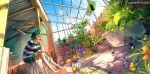 1girl barefoot bathtub beret blue_eyes blue_sky brown_hair clouds commentary fisheye_placebo flower greenhouse hat hat_with_ears highres plant profile short_hair sitting sky solo watermark web_address wenqing_yan