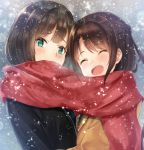 2girls bangs brown_hair cardigan closed_eyes eyebrows_visible_through_hair green_eyes idolmaster idolmaster_cinderella_girls irohakaede long_hair looking_at_viewer maekawa_miku multiple_girls open_mouth scarf school_uniform shared_scarf shibuya_rin shimamura_uzuki snowing