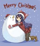 1girl black_legwear blue_hair brown_eyes christmas coat eyebrows_visible_through_hair fairy_tail full_body gloves hair_down hat hug kneehighs long_hair long_sleeves looking_at_viewer mashima_hiro merry_christmas pleated_skirt plue skirt smile snow solo text wendy_marvell