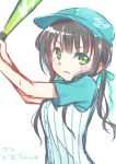 >:( 1girl alternate_costume alternate_hairstyle aqua_bow aqua_hat bangs baseball_bat baseball_cap baseball_uniform blunt_bangs bow brown_hair buttons closed_mouth dated eyebrows_visible_through_hair gochuumon_wa_usagi_desu_ka? green_eyes hat hetareeji highres holding long_hair looking_at_viewer ponytail raglan_sleeves shirt short_sleeves sidelocks signature simple_background sketch solo sportswear striped striped_shirt ujimatsu_chiya upper_body vertical-striped_shirt vertical_stripes white_background