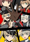 6+girls :d ;d anchor_hair_ornament aqua_eyes bismarck_(kantai_collection) blue_eyes brown_eyes brown_hair commentary_request detached_sleeves dress garrison_cap graf_zeppelin_(kantai_collection) hair_ornament hat high_five highres kantai_collection light_brown_hair long_hair looking_at_viewer multiple_girls one_eye_closed open_mouth parted_lips peaked_cap prinz_eugen_(kantai_collection) sailor_dress short_hair silver_hair smile torpedo twintails u-511_(kantai_collection) violet_eyes yukimi_unagi z1_leberecht_maass_(kantai_collection) z3_max_schultz_(kantai_collection)