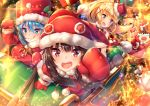 1boy 3girls :d :o :p adapted_costume aqua_(konosuba) blonde_hair blue_eyes blue_hair blush christmas crying crying_with_eyes_open darkness_(konosuba) falling floating fur_trim gloves hair_ornament kono_subarashii_sekai_ni_shukufuku_wo! long_hair looking_at_viewer looking_back megumin multiple_girls open_mouth pensuke ponytail reaching_out red_eyes red_gloves riding santa_costume satou_kazuma short_hair_with_long_locks sitting sleigh smile standing star starry_background tears tongue tongue_out x_hair_ornament