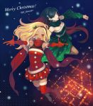 2girls bag bare_shoulders black_hair blonde_hair blue_eyes blush breasts christmas crow_(gravity_daze) dark_skin flaxvivi gravity_daze gravity_daze_2 hairband hat kitten_(gravity_daze) long_hair looking_at_viewer medium_breasts merry_christmas multicolored_hair navel open_mouth red_eyes redhead santa_costume scarf smile