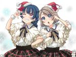 2girls :o alternate_hairstyle arm_behind_back blue_eyes blue_hair braid clenched_hand double-breasted earrings flower frilled_capelet frilled_skirt frills grey_hair grin hair_ornament hairpin hat holly jewelry locked_arms looking_at_viewer love_live! love_live!_sunshine!! low_twintails multiple_girls neck_ribbon one_eye_closed plaid plaid_skirt poinsettia ribbon rippe santa_hat short_hair short_twintails skirt smile star star_earrings tsushima_yoshiko twintails v-shaped_eyebrows violet_eyes w_over_eye watanabe_you