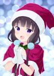 1girl :d blend_s blush bow bowtie brown_hair christmas collarbone commentary_request eyebrows_visible_through_hair gloves green_neckwear hands_together hat long_hair looking_at_viewer low_twintails open_mouth sakuranomiya_maika santa_costume santa_hat short_sleeves smile solo teeth twintails upper_body upper_teeth violet_eyes white_gloves yutsuki_warabi