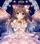 1girl akabane_(zebrasmise) animal_ears bangs bare_shoulders blue_background blue_eyes blush bow brown_hair brown_wings cat_ears cat_girl cat_tail closed_mouth cover cover_page criss-cross_halter doujin_cover dress eyebrows_visible_through_hair feathered_wings flower gloves hair_between_eyes hair_bow halo halterneck head_tilt highres holding holding_flower long_hair looking_at_viewer off-shoulder_dress off_shoulder original puffy_short_sleeves puffy_sleeves rose short_sleeves smile solo star tail very_long_hair white_bow white_dress white_gloves white_rose wings
