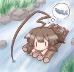 1girl ahoge bangs blush brown_hair closed_mouth commentary_request day eyebrows_visible_through_hair fish fishing grey_footwear hair_between_eyes huge_ahoge kantai_collection komakoma_(magicaltale) kuma_(kantai_collection) long_hair lying on_stomach outdoors raft rock solo stream thought_bubble very_long_hair water ||_||