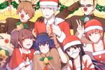 >_< 3boys 4girls :3 :d absurdres adjusting_eyewear adjusting_headwear amagi_yukiko animal_costume animal_ears bag bangs bell black_eyes black_hair blonde_hair blue_eyes blue_hair blunt_bangs bow bowtie brown_eyes brown_hair capelet carrying_over_shoulder christmas christmas_lights closed_mouth clown_nose collar collarbone commentary double_v dress earrings elbow_gloves eyebrows_visible_through_hair fake_animal_ears fake_antlers fake_mustache fake_nose flipped_hair furrowed_eyebrows gift_bag gloves grey_eyes grin hanamura_yousuke hand_on_another's_shoulder hand_to_head hat headband highres holly horn_grab jewelry kujikawa_rise kuma_(persona_4) long_hair looking_at_viewer looking_away multiple_boys multiple_girls narukami_yuu one_eye_closed open_mouth orange_hair parted_bangs persona persona_4 pinafore_dress purple_hair red_gloves red_neckwear reindeer_costume santa_costume santa_hat satonaka_chie shirogane_naoto short_hair sidelocks silver_hair smile spiked_collar spikes sunglasses sweatdrop swept_bangs tatsumi_kanji teeth twintails v v-shaped_eyebrows white_gloves wreath yellow_background yft000