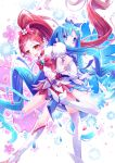 2girls absurdly_long_hair blue_hair blush bow cure_blossom cure_marine eyebrows_visible_through_hair hair_bow hanasaki_tsubomi heartcatch_precure! high_heels highres kurumi_erika ling_si long_hair looking_at_viewer multiple_girls open_mouth ponytail precure puffy_short_sleeves puffy_sleeves red_bow red_skirt redhead short_sleeves skirt smile thigh-highs very_long_hair white_legwear