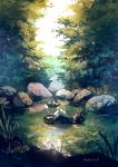 artist_name closed_eyes commentary_request day grass highres manino_(mofuritaionaka) nature no_humans outdoors pokemon pokemon_(creature) pond rock scenery solo tree vaporeon water