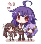 3girls ahoge apron asymmetrical_legwear bangs basket belt_buckle black_belt black_footwear black_legwear black_skirt blue_eyes blue_legwear blue_shirt blue_skirt blush brown_eyes brown_hair buckle closed_mouth collared_dress commentary_request crescent crescent_hair_ornament dress eyebrows_visible_through_hair green_dress grey_footwear hair_between_eyes hair_flaps hair_ornament hair_ribbon head_tilt holding holding_basket kantai_collection kneehighs komakoma_(magicaltale) long_sleeves looking_at_viewer multiple_girls necktie pantyhose parted_lips pleated_skirt potato purple_hair red_eyes red_neckwear ribbon school_uniform serafuku shirt shoes short_sleeves single_kneehigh single_thighhigh skirt standing taigei_(kantai_collection) thigh-highs tone_(kantai_collection) twintails v-shaped_eyebrows v_arms waist_apron white_apron white_background white_ribbon white_shirt yayoi_(kantai_collection) zouri