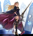 1girl :d armor armored_boots asymmetrical_legwear bangs birdcage black_dress black_footwear black_legwear black_leotard blonde_hair boots bow cage cape cloak dress ereshkigal_(fate/grand_order) fate/grand_order fate_(series) fur_trim hair_bow high_heel_boots high_heels highres holding holding_sword holding_weapon lance leotard long_hair open_mouth parted_bangs polearm purple_bow red_eyes single_greave single_thighhigh skull smile solo spine sword teeth thigh-highs thighs tiara tohsaka_rin two_side_up violet_eyes weapon yahako