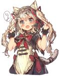 1girl :d animal_ears armlet banfs bell bell_collar blonde_hair blue_eyes blush bow bowtie camomi capelet cat_ears cat_tail collar dress ears_through_headwear frilled_bow frills hair hair_ornament hair_ribbon hairclip heart holding holding_hair long_hair open_mouth original red_bow red_neckwear red_ribbon ribbon simple_background smile solo speech_bubble tail tareme twintails upper_body white_background wrist_cuffs