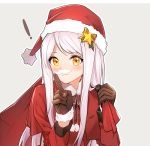 ! 1girl :3 bangs blush bobblehat brown_gloves carrying_over_shoulder closed_mouth dress eve_santaclaus eyebrows_visible_through_hair fake_mustache finger_to_mouth fpanda fur-trimmed_gloves fur-trimmed_hat fur_trim gloves grey_background hat idolmaster idolmaster_cinderella_girls index_finger_raised long_hair long_sleeves looking_at_viewer over_shoulder pink_hair pom_pom_(clothes) red_dress red_hat sack santa_costume santa_hat shushing simple_background solo swept_bangs upper_body yellow_eyes