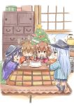 +_+ 4girls akatsuki_(kantai_collection) anchor_symbol black_hair black_hat black_legwear blue_skirt blush_stickers brown_eyes brown_hair cabinet cake christmas_tree flat_cap folded_ponytail food fujishima_shinnosuke hanten_(clothes) hat hibiki_(kantai_collection) ikazuchi_(kantai_collection) inazuma_(kantai_collection) kantai_collection kettle kotatsu multiple_girls neckerchief open_mouth plate saucer school_uniform serafuku skirt table tears turkey