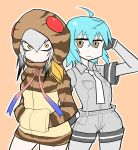 2girls :/ ahoge aqua_hair bangs black_hair breast_pocket brown_eyes commentary cosplay costume_switch gloves grey_hair grey_shirt grey_shorts hair_between_eyes hands_in_pockets hood hoodie kemono_friends looking_at_viewer multicolored_hair multiple_girls necktie nuka_cola06 pocket shirt shoebill_(kemono_friends) short_hair shorts tsuchinoko_(kemono_friends) white_neckwear yellow_eyes