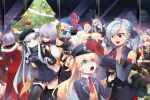 6+girls beret blonde_hair braid brown_hair chibi christmas christmas_tree detached_sleeves food food_on_face fur_hat g41_(girls_frontline) g43_(girls_frontline) girls_frontline green_eyes hat hk416_(girls_frontline) long_hair m16a1_(girls_frontline) m4_sopmod_ii_(girls_frontline) makarov_(girls_frontline) menpo mg5_(girls_frontline) mp5_(girls_frontline) multiple_girls necktie ntw-20_(girls_frontline) p7_(girls_frontline) police_hat red_eyes short_hair silver_hair skyline spas-12_(girls_frontline) super_shorty_(girls_frontline) thigh-highs thompson_submachine_gun_(girls_frontline) ushanka