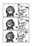 /\/\/\ 2girls 3koma :3 :d :o :t animal_ears bangs bare_shoulders blush_stickers bow bowtie cat_ears cat_tail chestnut_mouth comic eating elbow_gloves eyebrows_visible_through_hair flying_sweatdrops food gloves greyscale hair_between_eyes highres hood hood_up hoodie japari_bun kemono_friends kotobuki_(tiny_life) legs_together long_sleeves monochrome motion_lines multiple_girls neck_ribbon one_eye_closed open_mouth ribbon sand_cat_(kemono_friends) short_hair silent_comic simple_background smile squatting striped sweatdrop tail tsuchinoko_(kemono_friends) tsundere white_background wide-eyed