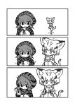 2girls 3koma :3 :d animal_ears bangs bare_shoulders blush bow bowtie cat_ears cat_tail closed_mouth comic elbow_gloves eyebrows_visible_through_hair food gloves greyscale hair_between_eyes highres hood hood_up hoodie japari_bun japari_coin japari_symbol kemono_friends kotobuki_(tiny_life) legs_together long_sleeves looking_at_another looking_down monochrome motion_lines multiple_girls neck_ribbon open_mouth ribbon sand_cat_(kemono_friends) short_hair silent_comic simple_background smile squatting standing standing_on_one_leg striped tail tareme tsuchinoko_(kemono_friends) walking white_background